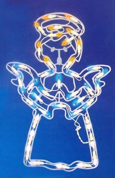 """18"""" LED Lighted Angel Christmas Window Silhouette Decoration by Sienna. $14.99. LED Lighted Angel Christmas DecorationItem #N640V216Features:Color: pure white, blue, amber and orange bulbs / white wireNumber of bulbs: 40Bulb size: M5 (mini bulb)67 inch white lead cordDouble-sided designWire gauge: 22Additional product features:Uses 90% less energySuper bright bulbs guaranteed to lightCool to touch, non-glass bulbsUL listed for indoor or outdoor use120 volts, 60 h..."""