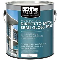 BEHR 1 gal. White Semi-Gloss Direct to Metal Interior/Exterior Paint-320001 - The Home Depot