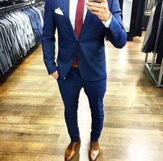 Blue suit, brown shoes