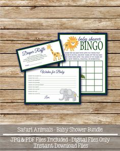 Safari Animals Baby Shower Printable Set  by swtlittlehodgepodge, $6.00 Baby Shower Bingo, Shower Set, Baby Shower Printables, Baby Shower Parties, Shower Ideas, Baby Showers, Airplane Baby Shower, Diaper Raffle Tickets, Wishes For Baby