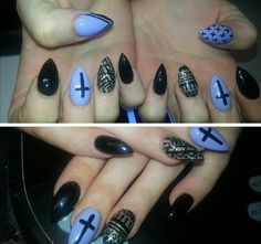 Almond #cross #black #Lilac #Glitter nails