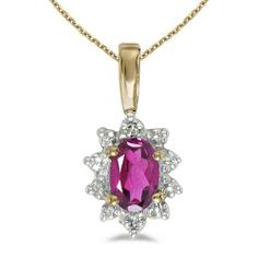 14k Yellow Gold Oval Pink Topaz And Diamond Pendant (chain NOT included)
