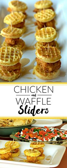 Chicken & Waffle Sliders: Game day eats that are super quick & easy to make! Kid friendly, too! | quick and easy recipe | comfort food | appetizer recipe | Super Bowl Recipe | Super Bowl Appetizer | Super Bowl Food