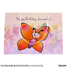 Cute Butterfly And Colorful Flowers Large Gift Bag