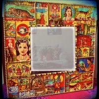 Indian decor - Beveled Wall Mirror - matchbox art - bohemian- decorative wall art - vintage decor
