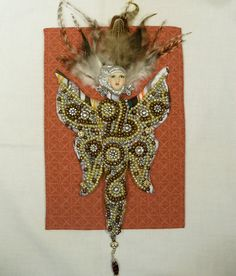 Mixed Metals Beaded Goddess cloth art doll wall hanging Ooak fantasy 8 by 6 1/2in.