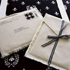 """""""Fabric Envelopes"""" depending upon how they're labled, or how often you send that person letters, they could be reusable... or perhaps they might simply be for show rather than the postal system."""