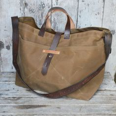 Super Roomy Large Waxed Canvas Tote: Tumbleweed, antique military leather, antique fabric pocket.