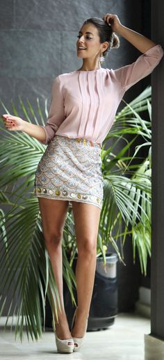 Scale Pattern Sequin Skirt Chic Outfit Idea by 1sillaparamibolso