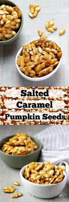 Salted Caramel Pumpkin Seeds | Garden in the Kitchen Pumpkin Lasagna, Yummy Treats, Yummy Food, Sweet Treats, Snack Recipes, Dessert Recipes, Easy Recipes, Bite Size Snacks, Pumpkin Seed Recipes