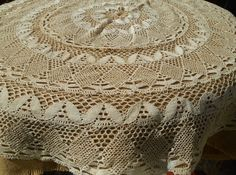 1930 Off White Hand Crocheted Lace Tablecloth by SophieLadyDeParis