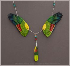 Blue Fronted Amazon - Leather Wings Necklace by windfalcon.deviantart.com on @DeviantArt
