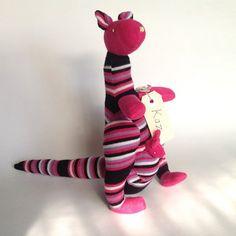 Australian kangaroo with Joey in pouch. Sock animal, sock kangaroo, sock monkey, soft plush toy kangaroo for children.