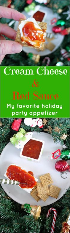 """Make this sweet and tangy """"red sauce"""" to pour over a block of cream cheese for one of the easiest and certainly my favorite holiday party appetizer recipe. A classic from the neighborhood holiday parties of my childhood, every time I make it, I still can't believe how delicious it is! Enjoy! 
