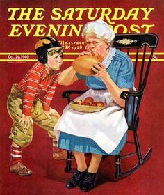Grandma And Football. Saturday Evening Post, October 26, 1940 (Russell Sambrook)