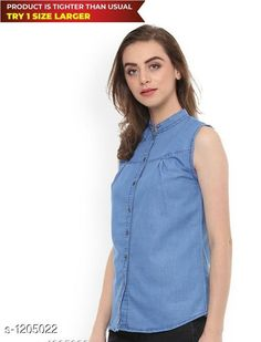 Shirts  Ladies Voguish Denim Shirt  *Fabric* Denim  *Sleeves* Sleeves Are Not Included    *Size* S - 36 in, M - 38 in, L - 40 in, XL - 42 in  *Length* Up To 26 in  *Type* Stitched  *Description* It Has 1 Piece Of Women's Shirt  *Pattern * Solid  *Sizes Available* S, M, L, XL *   Catalog Rating: ★4 (645)  Catalog Name: Free Mask Trendyfrog Ladies Voguish Denim Shirts Vol 13 CatalogID_151286 C79-SC1022 Code: 982-1205022-