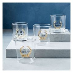 West Elm Fishs Eddy Gilded Glassware, Black/Gold, Here's to Me ($10) ❤ liked on Polyvore featuring home, kitchen & dining, drinkware, clear, west elm, glass glassware, double old-fashioned glass, vintage glassware and glass drinkware