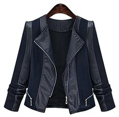 IDIFU Womens Unique Zip Up Long Sleeve Motor Leather Jacket Coat Black 3XLarge -- Learn more by visiting the image link.