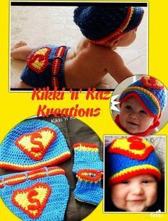 Baby's Crocheted Superhero Diaper Cover  Hat by KikkinKazKreations