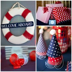 Love the Welcome Aboard Sign.  Maybe do his name there?  Nautical Birthday | PaigeSimple.com