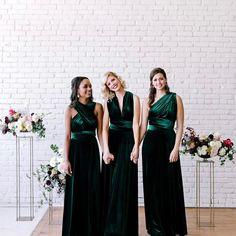 Emerald Green Bridesmaid Dresses, Winter Bridesmaid Dresses, Winter Bridesmaids, Velvet Bridesmaid Dresses, Emerald Green Weddings, Fall Dresses, Wedding Dress Cost, Wedding Dresses, Bride Dresses