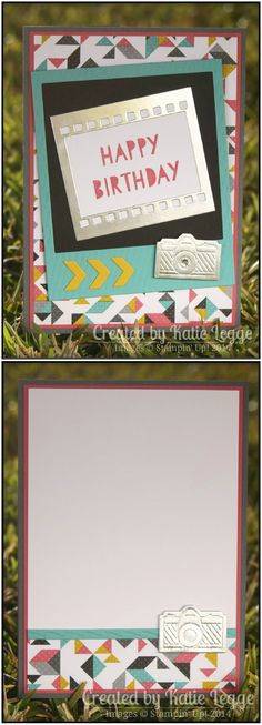 Stampin' Up! Kaleidoscope DSP, Age Awareness & On Film Framelits Camera Birthday Card by Katie Legge #Polaroid #StampinUp #Birthday #Camera #Kaleidoscope http://rachelleggestampinup.wordpress.com/2014/09/20/bright-birthday-card/