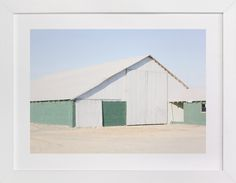 """Green Barn"" - Art Print by Alex Elko Design in beautiful frame options and a variety of sizes."