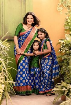Vijay TV Anchor Dhivyadharshini Latest Photoshoot Stills Mom Daughter Matching Dresses, Mother Daughter Fashion, Mother Daughters, Mothers, Saree Dress, Sari Blouse, Indian Bridal, Kids Outfits, Family Outfits
