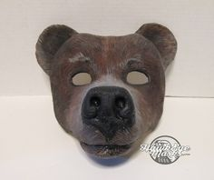 Grizzly Bear mask, wildlife, forest, zootopia cosplay, Animal costume, animal totem, brown bear, hand painted, masquerade mask, spirit mask by HawkEyeMasks on Etsy