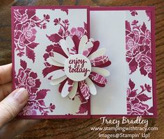 Gift Card Holder using Stampin; Up! Fresh Florals Designer Series Paper Pack by Tracy Bradley www.stampingwithtracy.com