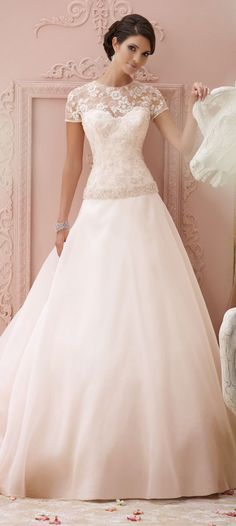 David Tutera for Mon Cheri Spring 2015 Bridal Collection - Wendy Schultz ~ Wedding Dresses & Gowns. Mon Cheri Wedding Dresses, Mon Cheri Bridal, 2015 Wedding Dresses, Wedding Attire, Bridal Dresses, Bridesmaid Dresses, Modest Wedding, Dresses 2014, Gown Wedding