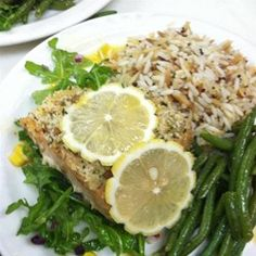 "Lemon Panko Crusted Salmon | ""I love serving this salmon with a side of glazed baby carrots and garlic feta mashed potatoes. It's a quick, yet healthy meal that will satisfy your hunger."""