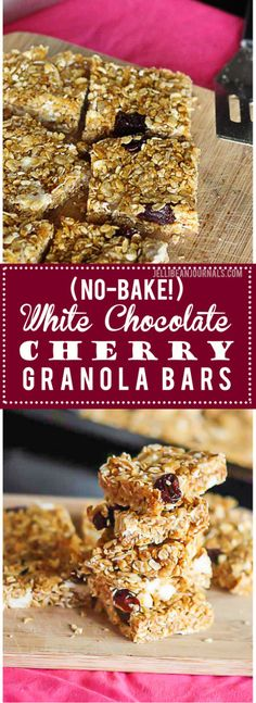 no bake white chocolate cherry granola bars no bake granola bars ...