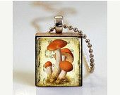 ON SALE Toadstool Necklace Red Cap Toadstools Scrabble Tile Pendant - Ball Chain Necklace Included (ITEM S254)