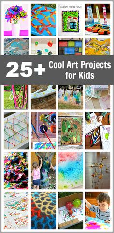 25 Cool Art Projects for Kids: Art activities for kids of all ages using unique materials like sticks, string, salt, toy cars, and more! Cool Art Projects, Projects For Kids, Craft Projects, Crafts To Do, Crafts For Kids, Crafty Kids, Preschool Art, Art Classroom, Creative Kids