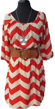 Coral and Cream Chevron verstido cinto lineas rayado