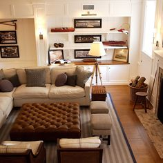 masculine and comfortable yet light and airy - perfect use of sports memorabilia/antiques]