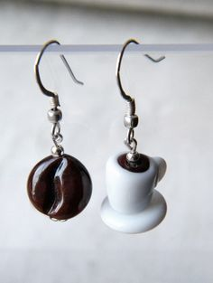Coffee earrings handmade.