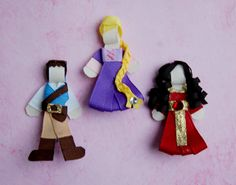 Disney Princess Tangled Hair Bow Clip Set - Repunzel, Flynn, Mother Gothel.