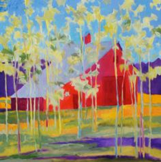 """""""""""Flathead Barn"""" can be seen in my upcoming show at Lanning Gallery in Sedona, AZ Oct Autumn Painting, Fall Paintings, Chalk Pastels, Tree Art, Embedded Image Permalink, Beautiful Landscapes, Color Splash, Flora, Abstract Art"""