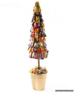 Candy Topiary: 7-inch flower pot 6-inch Styrofoam ball Styrofoam cone (18 inches tall by 6 inches wide) 18-inch-long, 3/4-inch-diameter dowel (stained) 4 to 5 bags of assorted fun-size candy bars 1 pound of twist wrapped candies Hot-glue gun Glue sticks