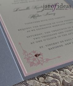 77567990c1c1 Danielle and Hector s wedding colors are blush pink and silver. I created  this metallic silver pocket fold invitation suite with a light pin.