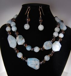 Aquamarine Necklace Gift Set - Gold Filled Smoky Quartz Gemstone & Heishi Pearls Double Strand Jewelry
