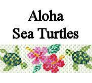 Aloha Sea Turtles Beaded Peyote Cuff Bracelet Pattern Digital PDF 2 Drop Peyote Stitch