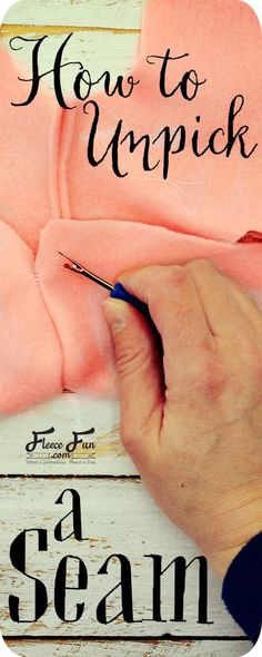 I love how this clearly shows how to unpick a seam and there's a video tutorial! This is a really practical sewing tutorial that I like to reference. Great for beginning sewists and newbies. Diy Sewing Projects, Sewing Projects For Beginners, Sewing Hacks, Sewing Tutorials, Fleece Projects, Sewing Tips, Sewing Ideas, Sewing Lessons, Quilt Tutorials