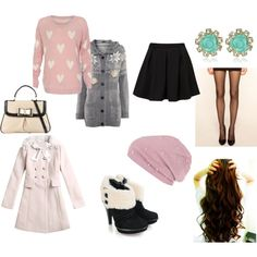 Personal outfit I created on Polyvore! This outfit was inspired by the world of Korean Fashion. Choosing and experimenting with different lengths, colors, and multiple pieces. I'm a big fan of a lot of the chosen styles I see in so many of the K-Dramas I watch so this was my own interpretation of it! (: You can find a similar beanie as the  River Island Pink Pearl Beanie Hat at Forever21. I purchased mine as a steal on sale!
