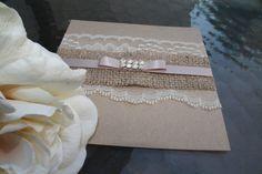 Eco Chic Burlap / Lace  Rustic Wedding Invitation by inkandlove, $5.50