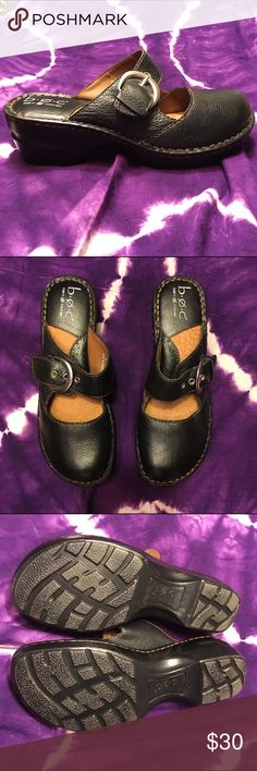 """B.O.C. Black Leather Clogs Gently used. Black leather with silver buckle. Padded insoles....very comfy. Heel is about 1.5"""". TINY scratch on toe. Bottom shows minimal wear. Smoke and pet free home. b.o.c. Shoes Mules & Clogs"""