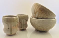 wood-fired set of porcelain tumblers and bowls