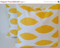 On SALE Yellow Pillow cover.Chipper Yellow by TwistedBobbinDesigns